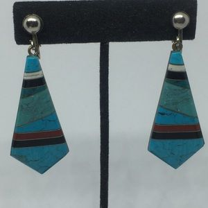 Vintage Southwestern Turquoise Clip On Earrings